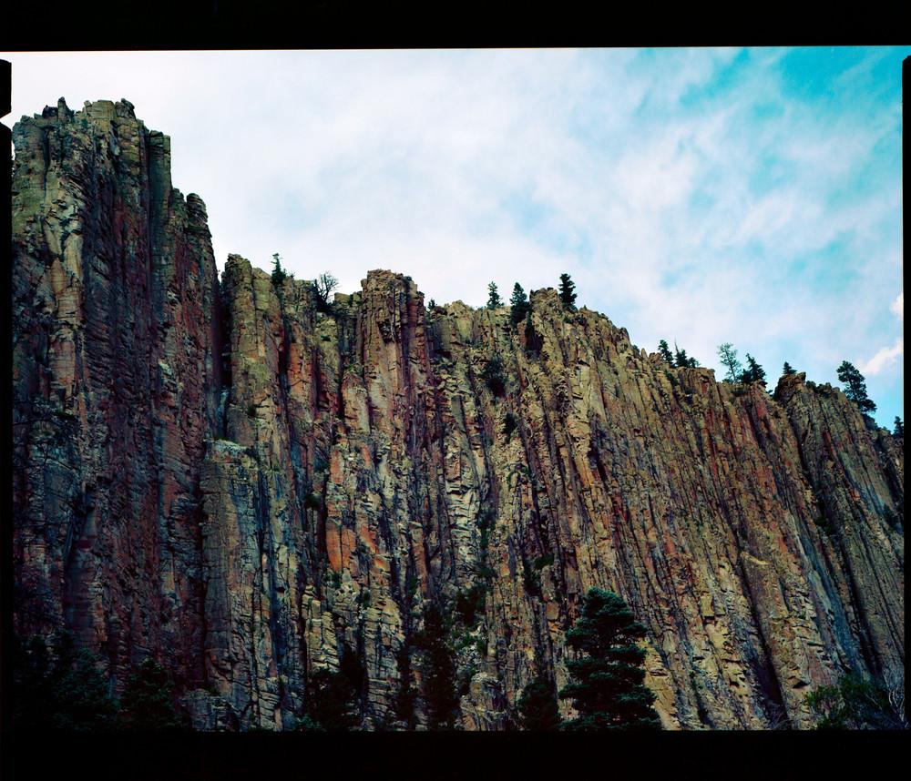The cragged face of Cimarron Canyon, New Mexico (120 film)
