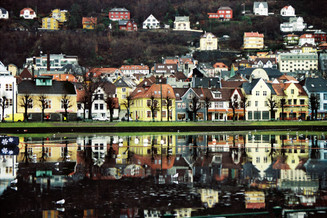 Two faces of Bergen, Norway (35mm film)