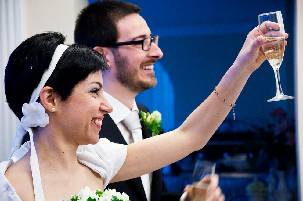 A toast to love during a wedding in Florence, Italy