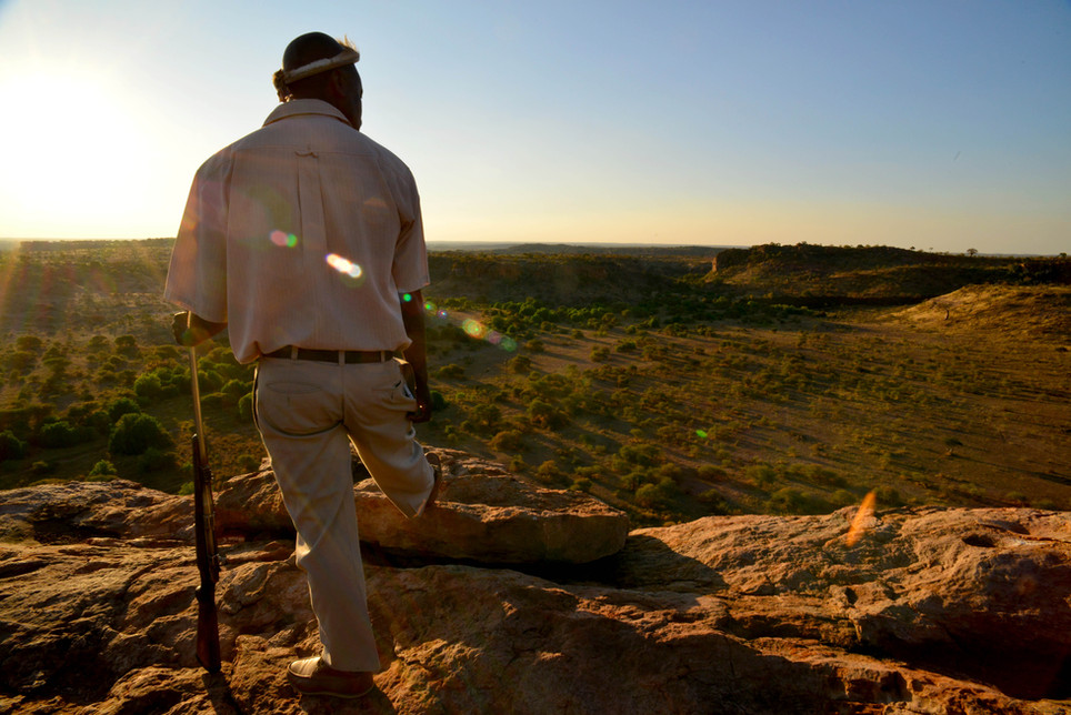 Guide and security in one, aka Johannes, atop the Mapungubwe Hill in the Limpopo Valley