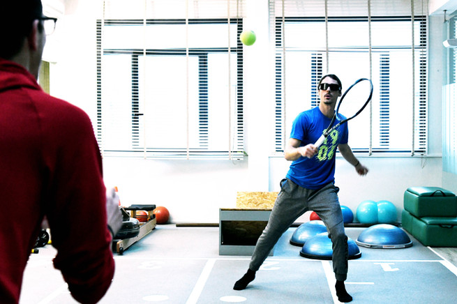 Strobe glasses challenge during a training session for an athlete, Florence, Italy