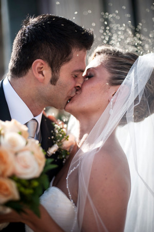 The first kiss of wedded bliss in Florence, Italy