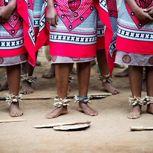 Dancer's feet of the Sibahle Ngemasiko Cultural Group, during a performance in Swaziland