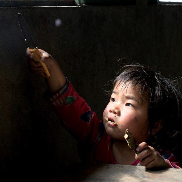 Slicing the afternoon light during snack time in Sapa, Vietnam