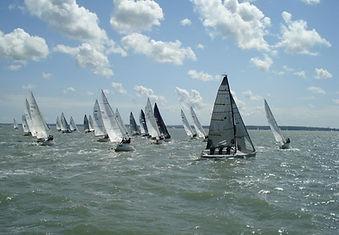Fleet of boats sailing