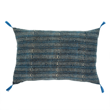 Printed Indian Fabric Pillow w/ Tassels