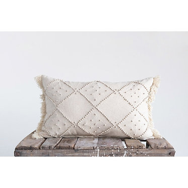 Cream Cotton and Linen Pillow w/ French Knots