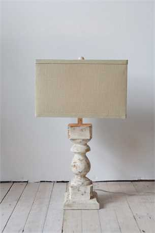 Distressed Wood & Metal Table Lamp
