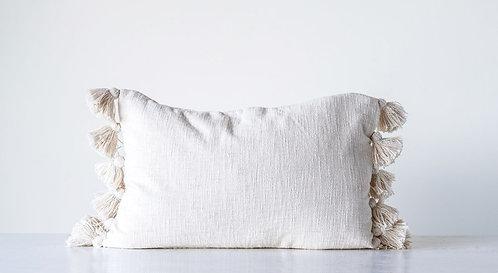Cream Slub Cotton Pillow w/ Tassels