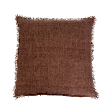 Belgian Linen Pillow - Chocolate