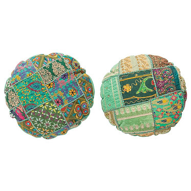Round Vintage Sari Pillow - Shades of Green