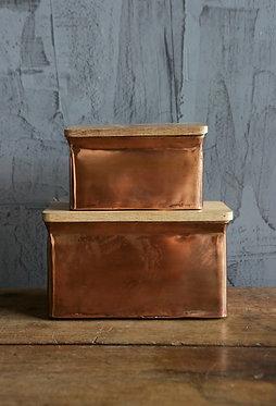 Copper Boxes w/ Wood Lids - Set of 2