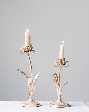 Distressed Gold Metal Flower Taper Holders - Set of 2