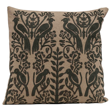 Tan and Charcoal Embroidered Pillow