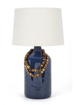 Lapis Blue Reactive Ceramic Lamp with Bone Beads