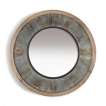 Round Wood & Galvanized Metal Mirror