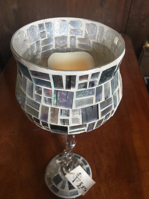 Coloured Glass Candle Holder With Twist