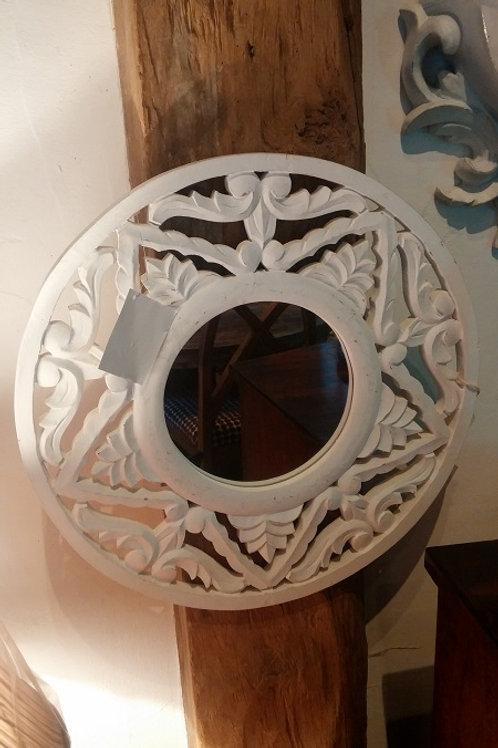 White Scroll Fret Round Mirror