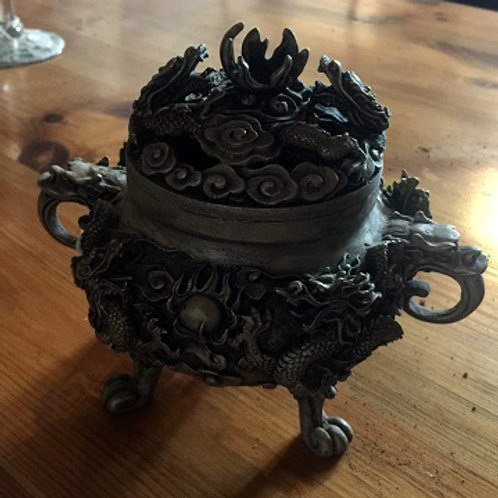Chinese Dragon Pewter Incense Burner