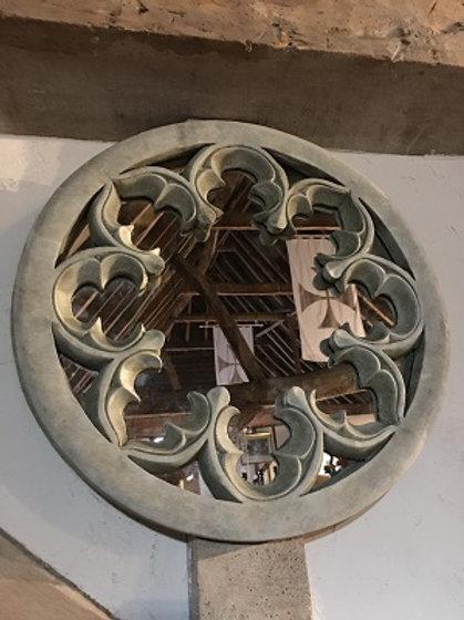 Stone Tracery Round Mirror