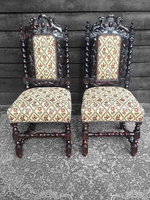 Victorian Carved Hall Chairs (pair)