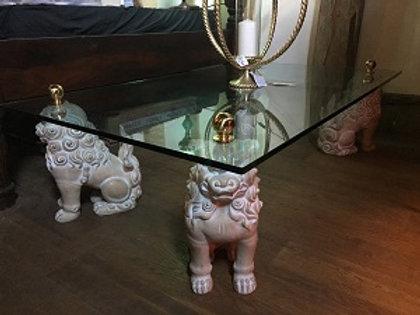 Foo Dog Glass Coffee Table