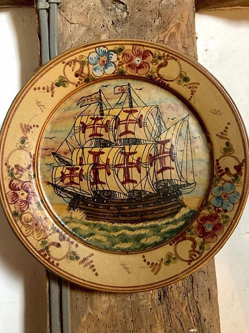 Portugueses Templar Ship Painted Plate