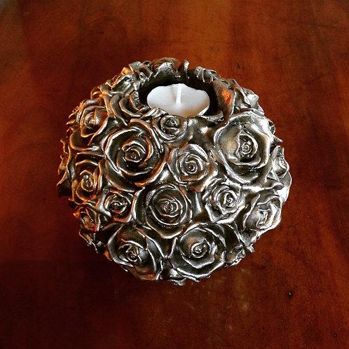 Silver Rose Tea light Holder