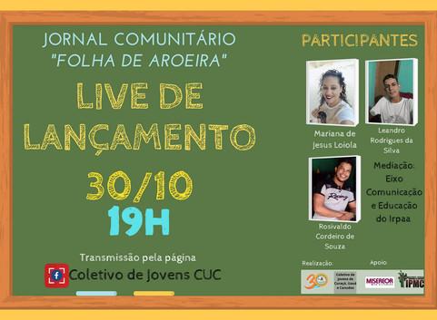IRPAA lança Jornal Comunitário em evento virtual no dia 30 de outubro