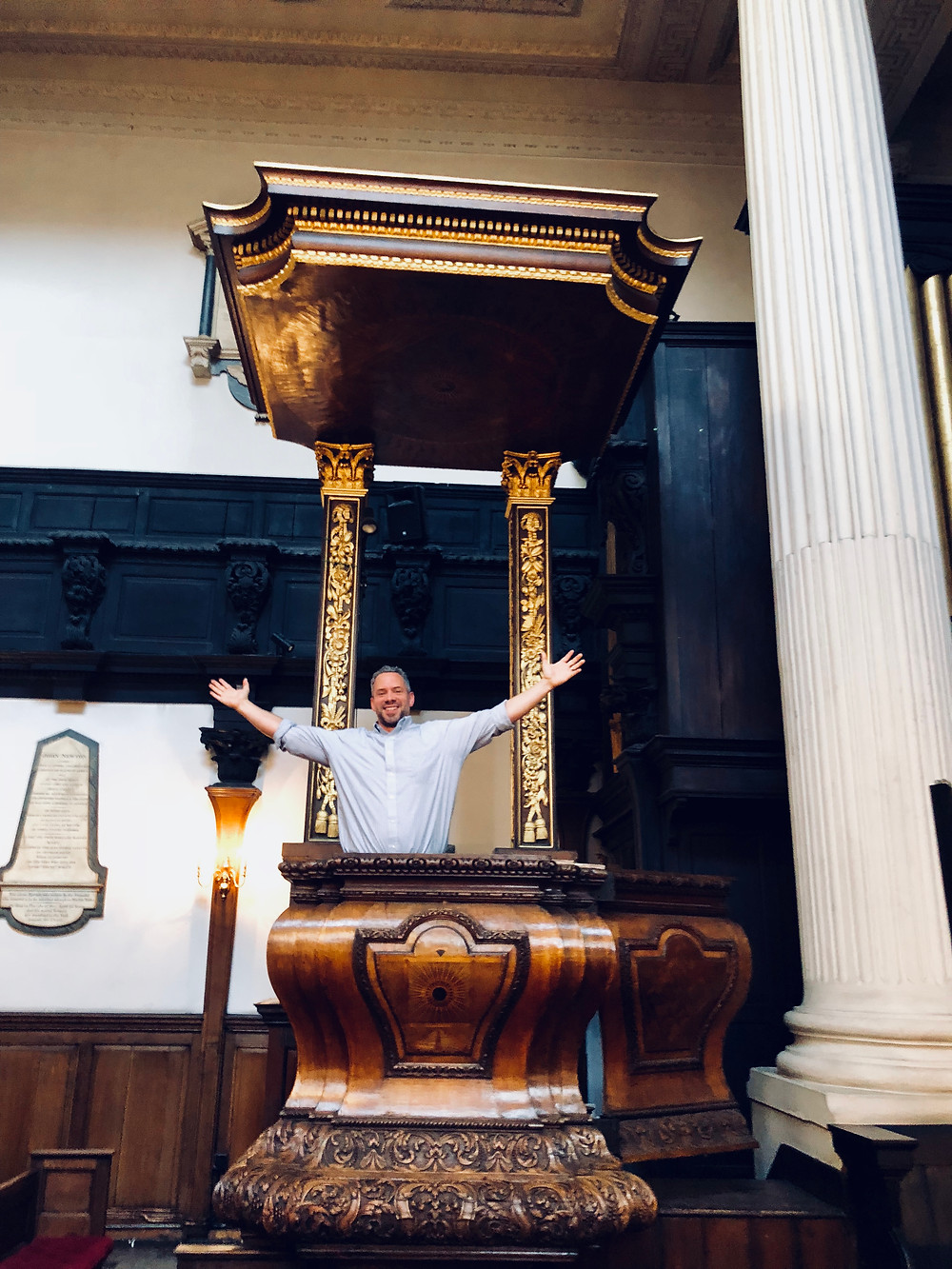 Mike standing in John Newton's pulpit on a recent trip to London.