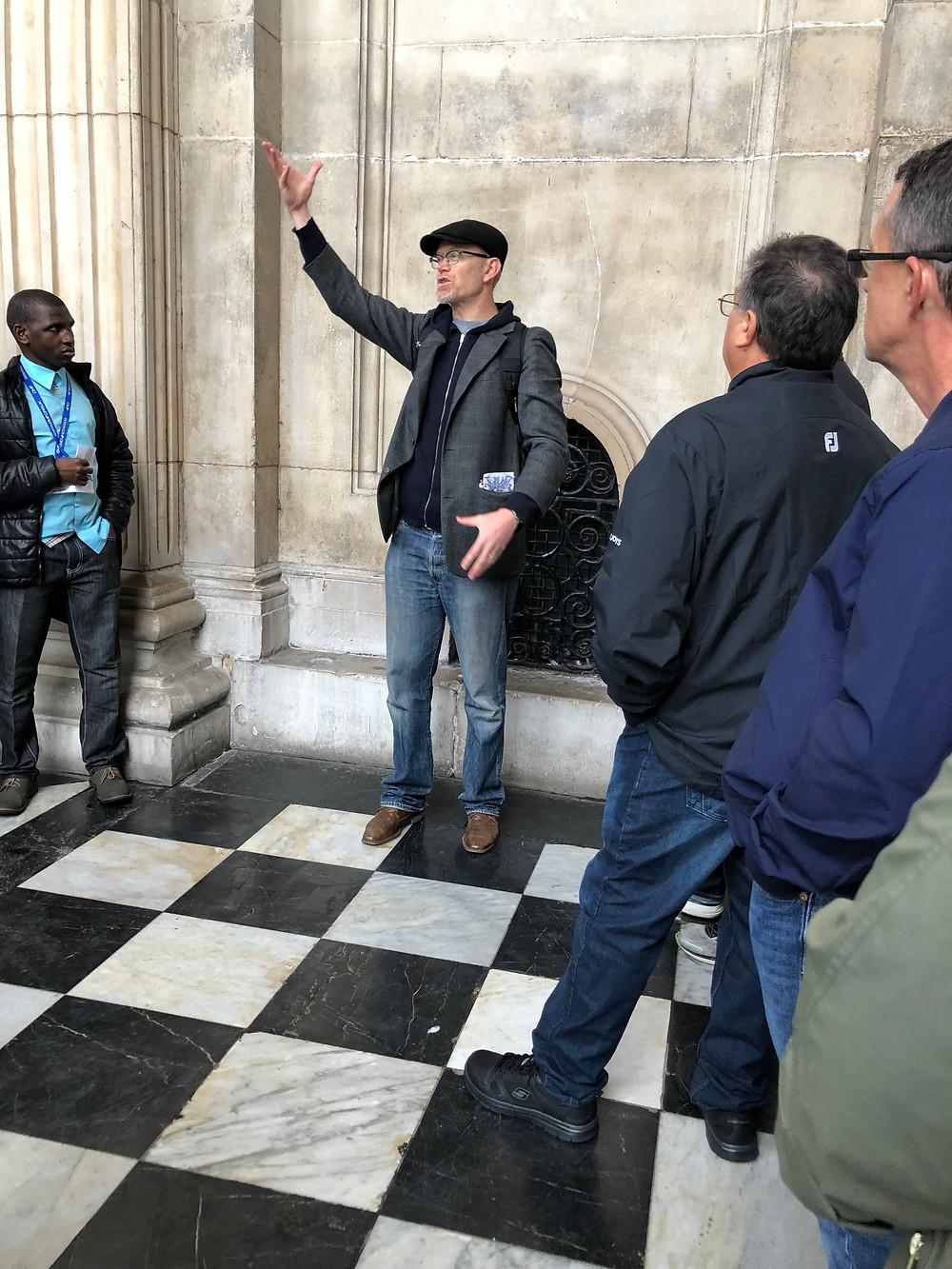 Ben Virgo beginning the Christian Heritage walking tour of London