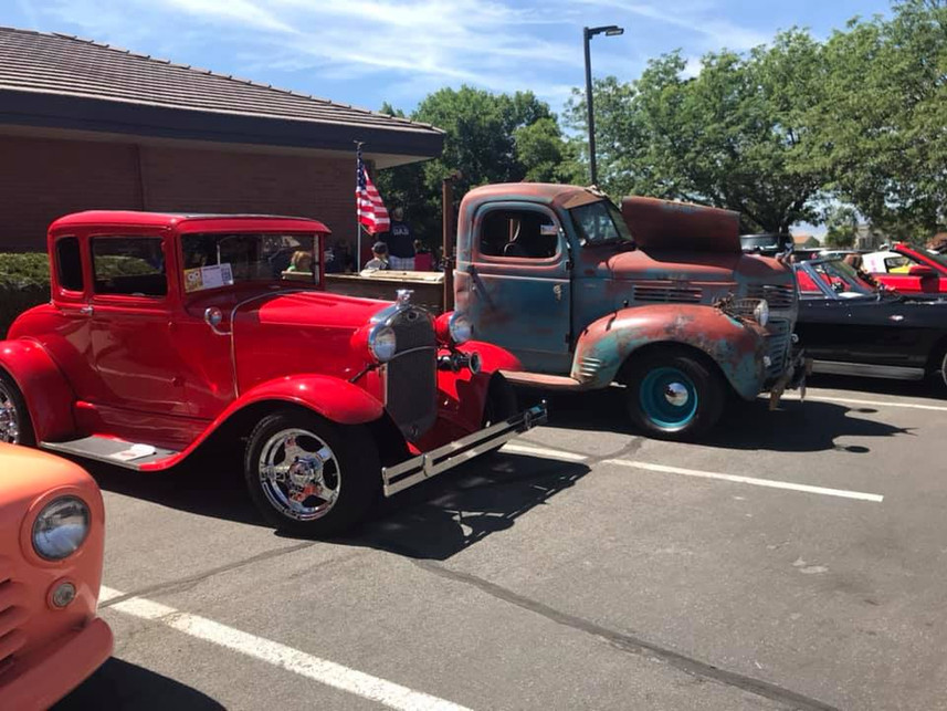 Red Classic car and older truck.jpg