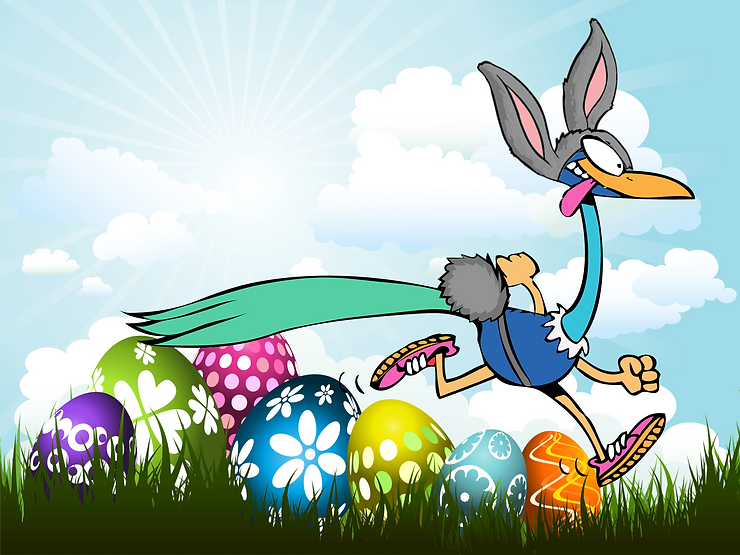 Peacock in Easter bunny outfit.png