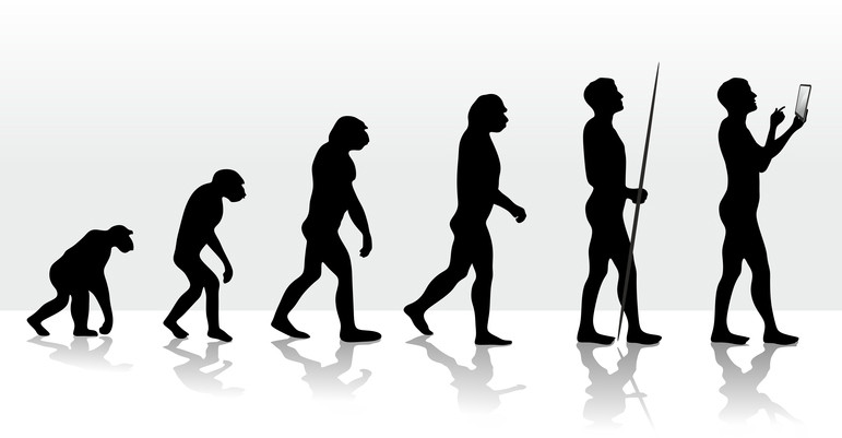 A illustration representing the process of human evolution throughout the centuries