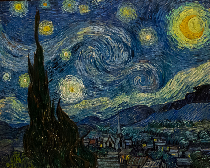 The Starry Night, painted by Vincent van Gogh in June of 1889