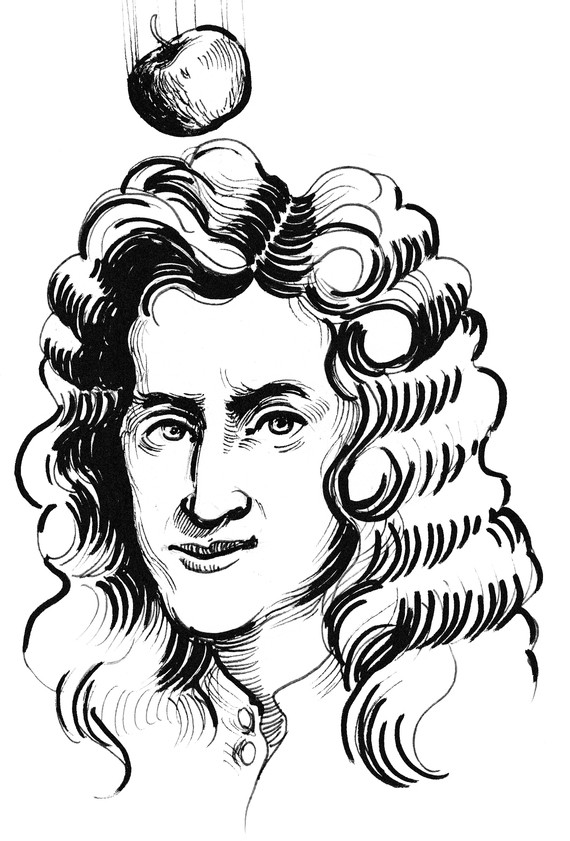 Illustration of Isaac Newton with apple falling on his head