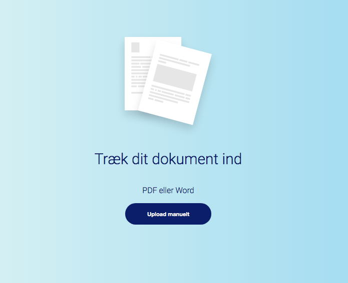Upload dokument til Cleardox´s anonymiseringsværktøj