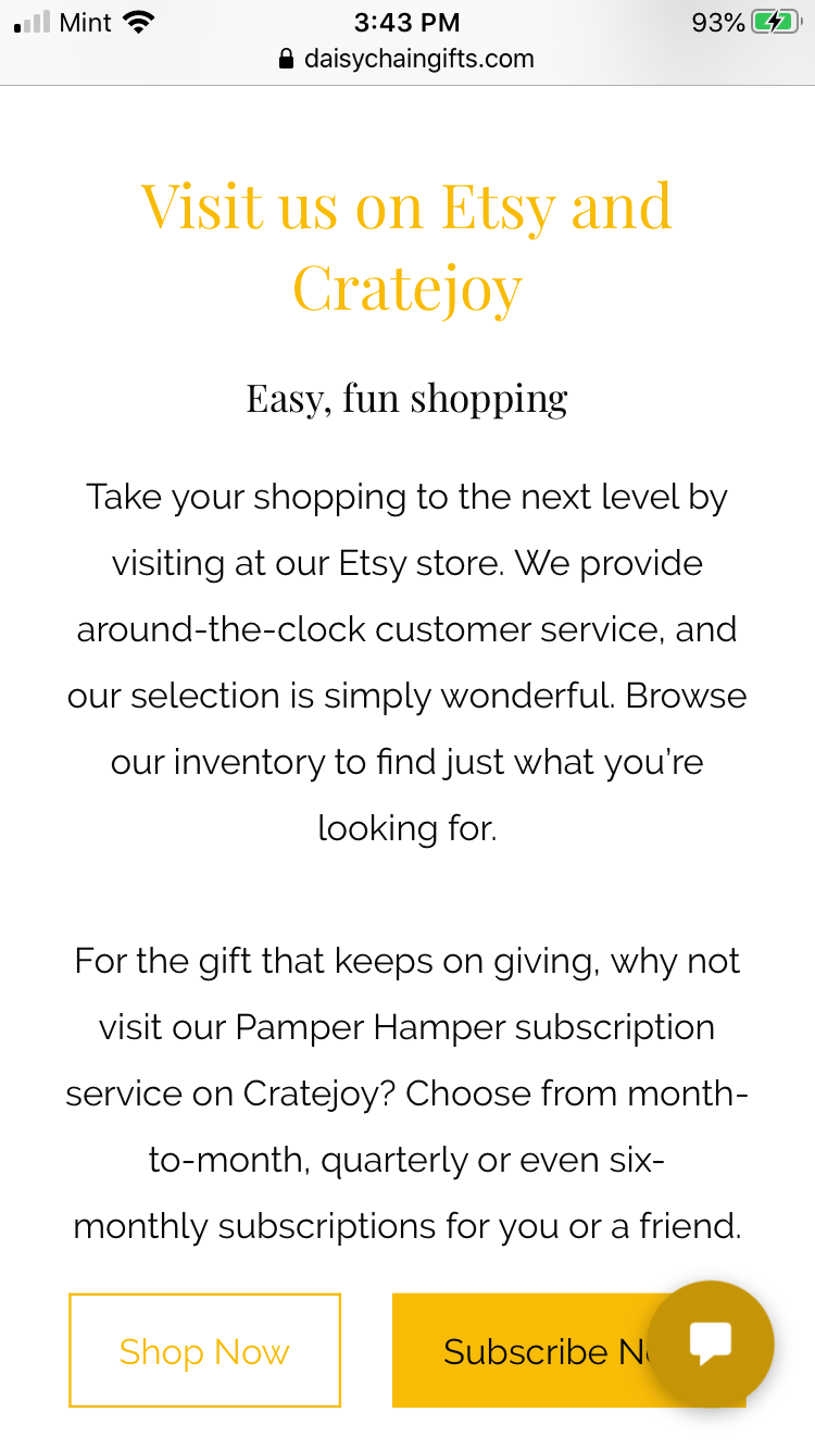 Shopping Links on the Home Page