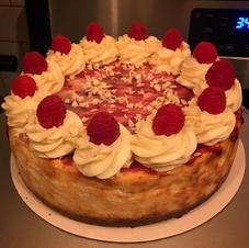 Belgin white chocolate and raspberry cheesecake