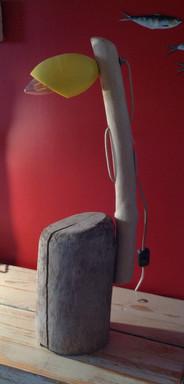 Lampe bois flotté , olive de pêche 60 x 20