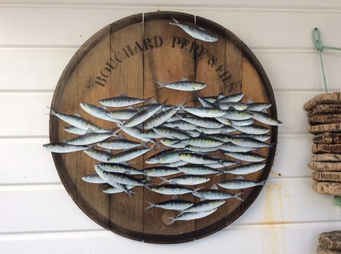 Sardines peintes sur métal