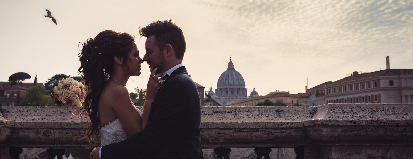 Cupolone, sposi, bacio, tramonto