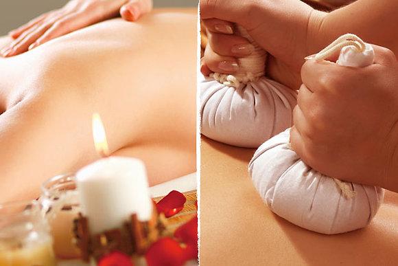 Massage dos aux pochons d'herbes chauds 40 min
