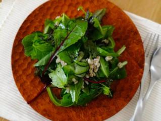 麦とグリーンリーフのサラダ。3/22正午撮影。