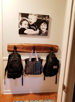 Walnut Slab Coat Rack (works for backpacks, too!)