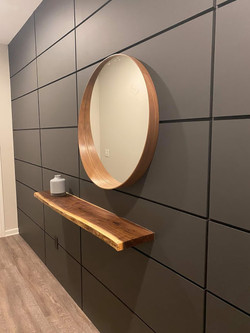 Walnut Accent Shelf built by Premier Home Renovations using on of our Walnut slabs!