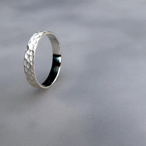 White Band Ring - Hammered