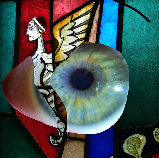 Mermaid spaceship - image of Coventry Cathedral Stained glass adapted with a new eye