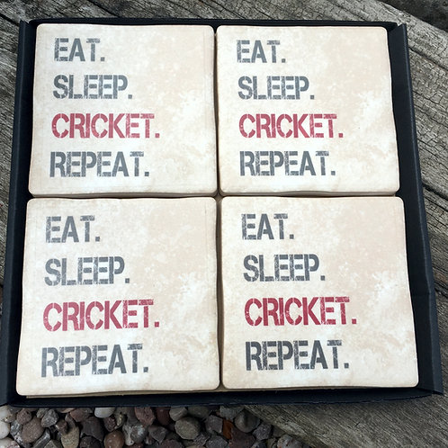 Cricket Coasters- Eat Sleep Repeat