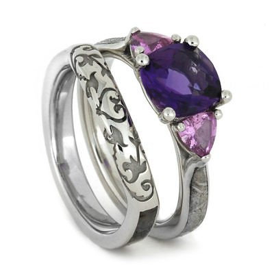 meteorite ring sapphire amethyst wedding rings - Amethyst Wedding Ring